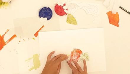 مناظر طبيعية متعددة الألوان باستخدام طريقة الطباعة المقطعة